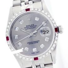 Rolex Men's Stainless Steel, QuickSet, Diam Dial & Diam/Ruby Bezel - REF-441M8H