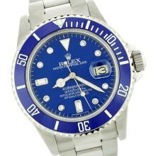 Rolex Men's Submariner, QuickSet, Diam Dial w/ Rotatable Blue Insert Bezel - REF-649X3A