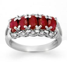 2.0 CTW Ruby & Diamond Ring 10K White Gold - REF-28M5H - 12432