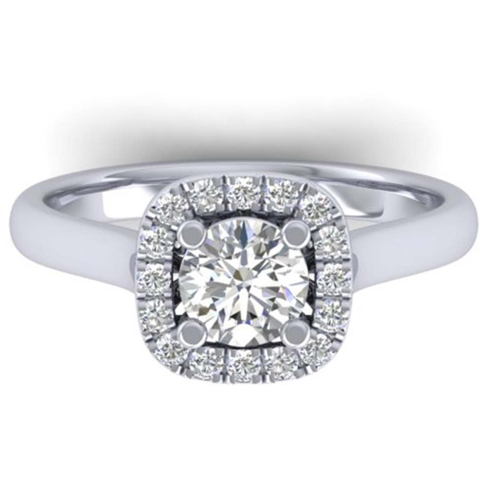 1.01 ctw VS/SI Diamond Solitaire Halo Ring 14K White Gold - REF-182N9A - SKU:30417