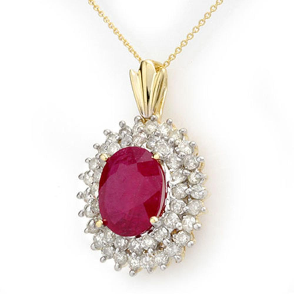10.81 ctw Ruby & Diamond Pendant 14K Yellow Gold - REF-236X4R - SKU:12986