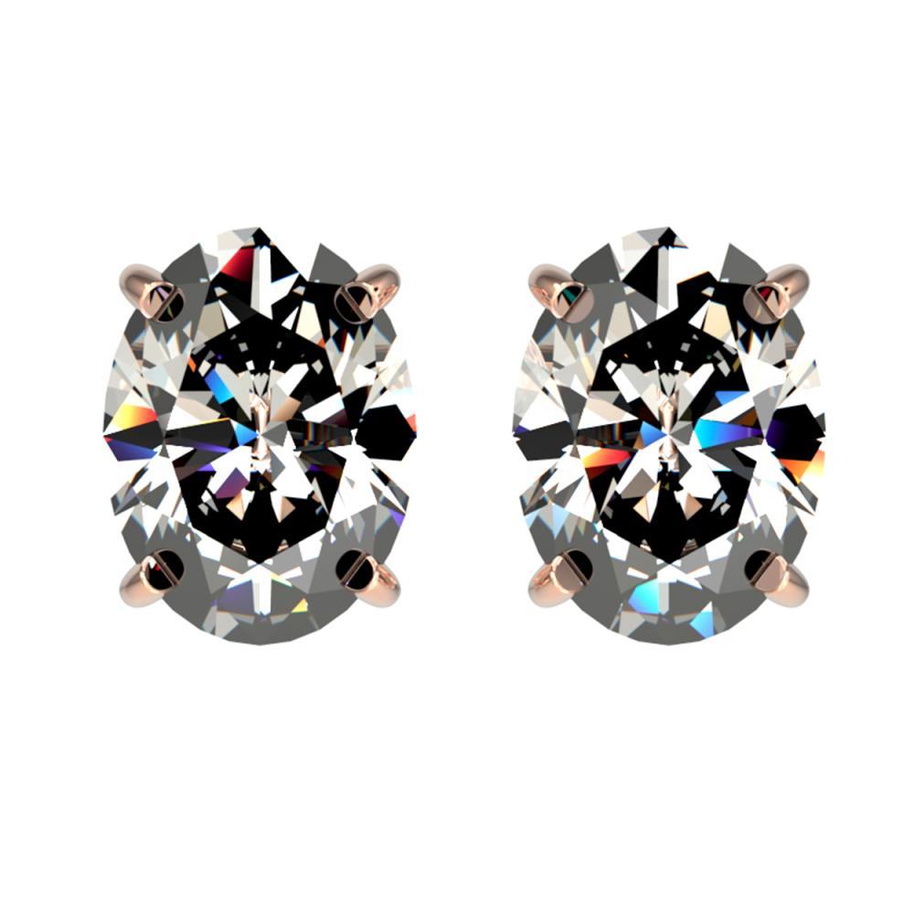 2.50 ctw VS/SI Oval Diamond Stud Earrings 10K Rose Gold - REF-735M2F - SKU:33112