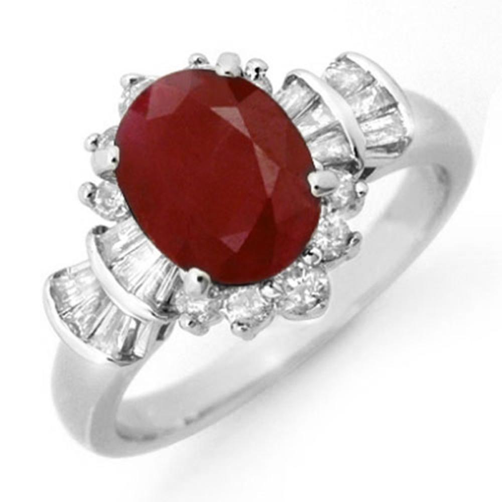 2.22 ctw Ruby & Diamond Ring 18K White Gold - REF-96X4R - SKU:13072