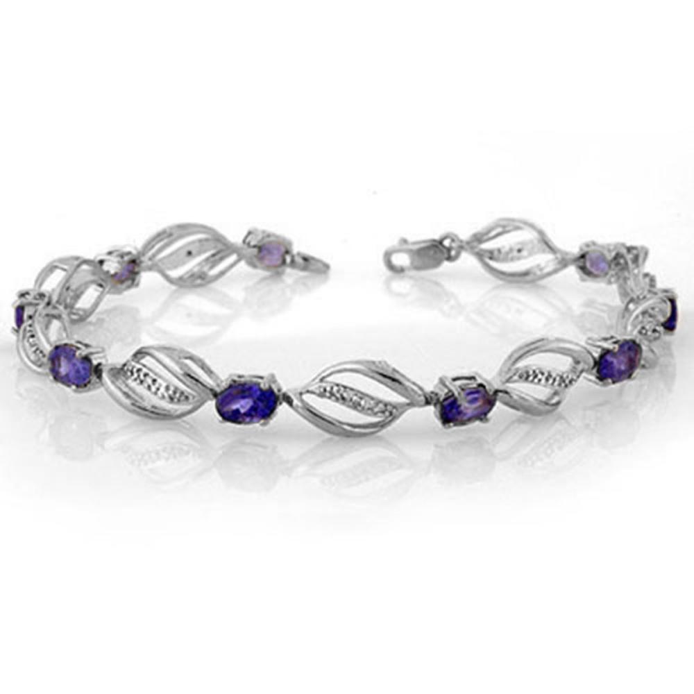 5.60 ctw Tanzanite & Diamond Bracelet 14K White Gold - REF-98R2K - SKU:10496
