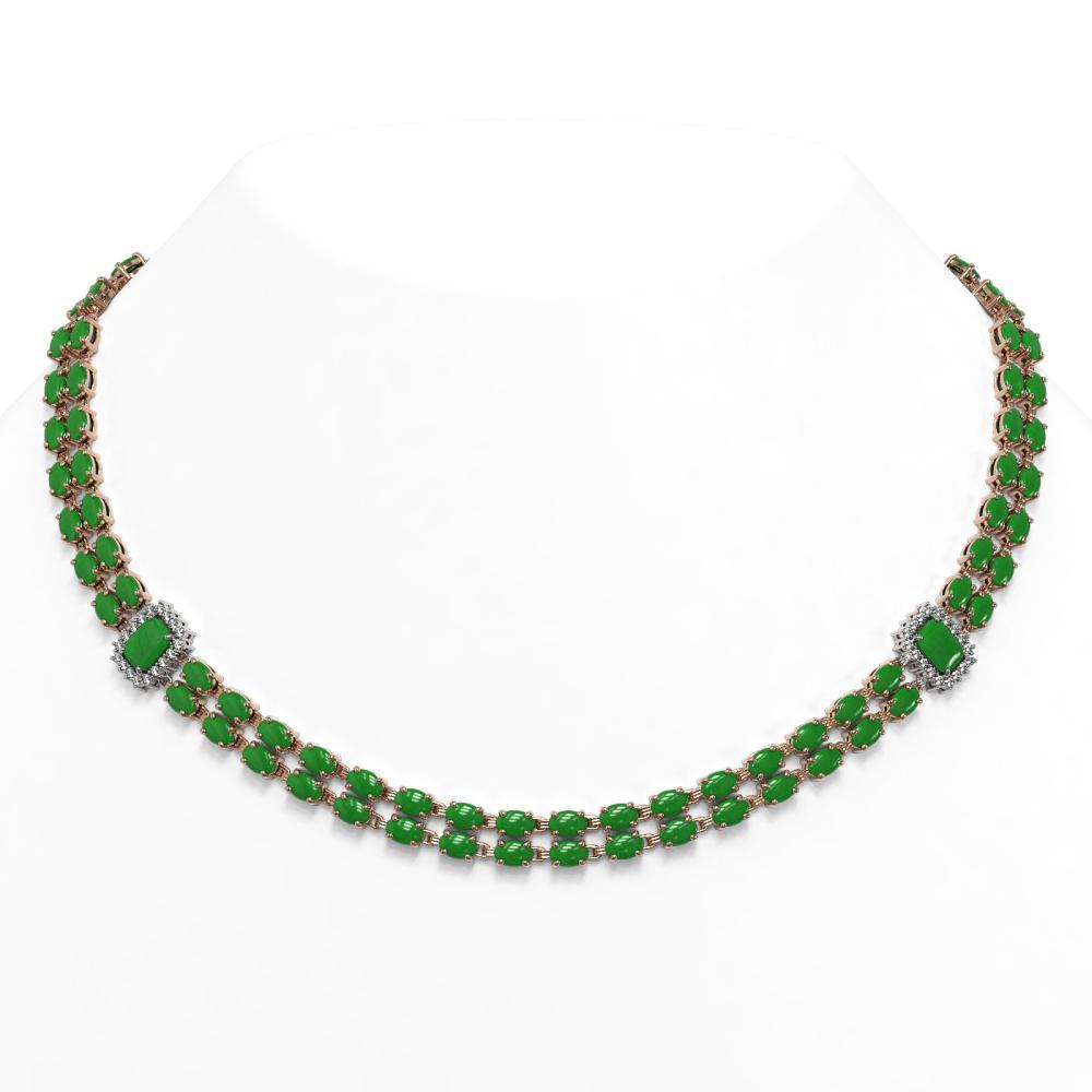 27.5 ctw Jade & Diamond Necklace 14K Rose Gold - REF-386N4A - SKU:45021