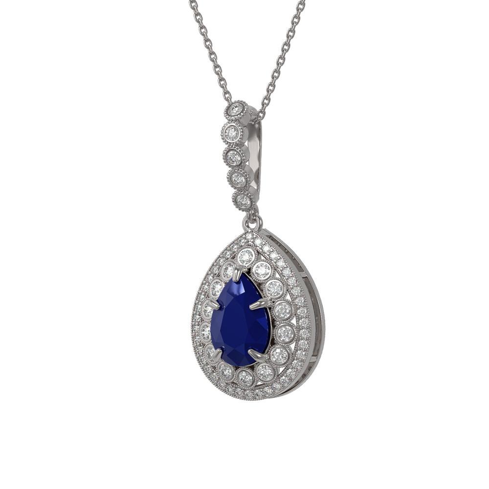 4.97 ctw Sapphire & Diamond Necklace 14K White Gold - REF-140H5M - SKU:43205