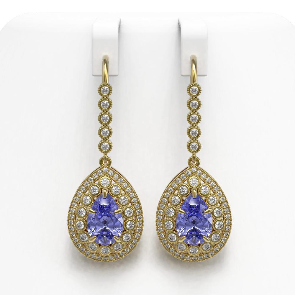 8.95 ctw Tanzanite & Diamond Earrings 14K Yellow Gold - REF-377K3W - SKU:43156