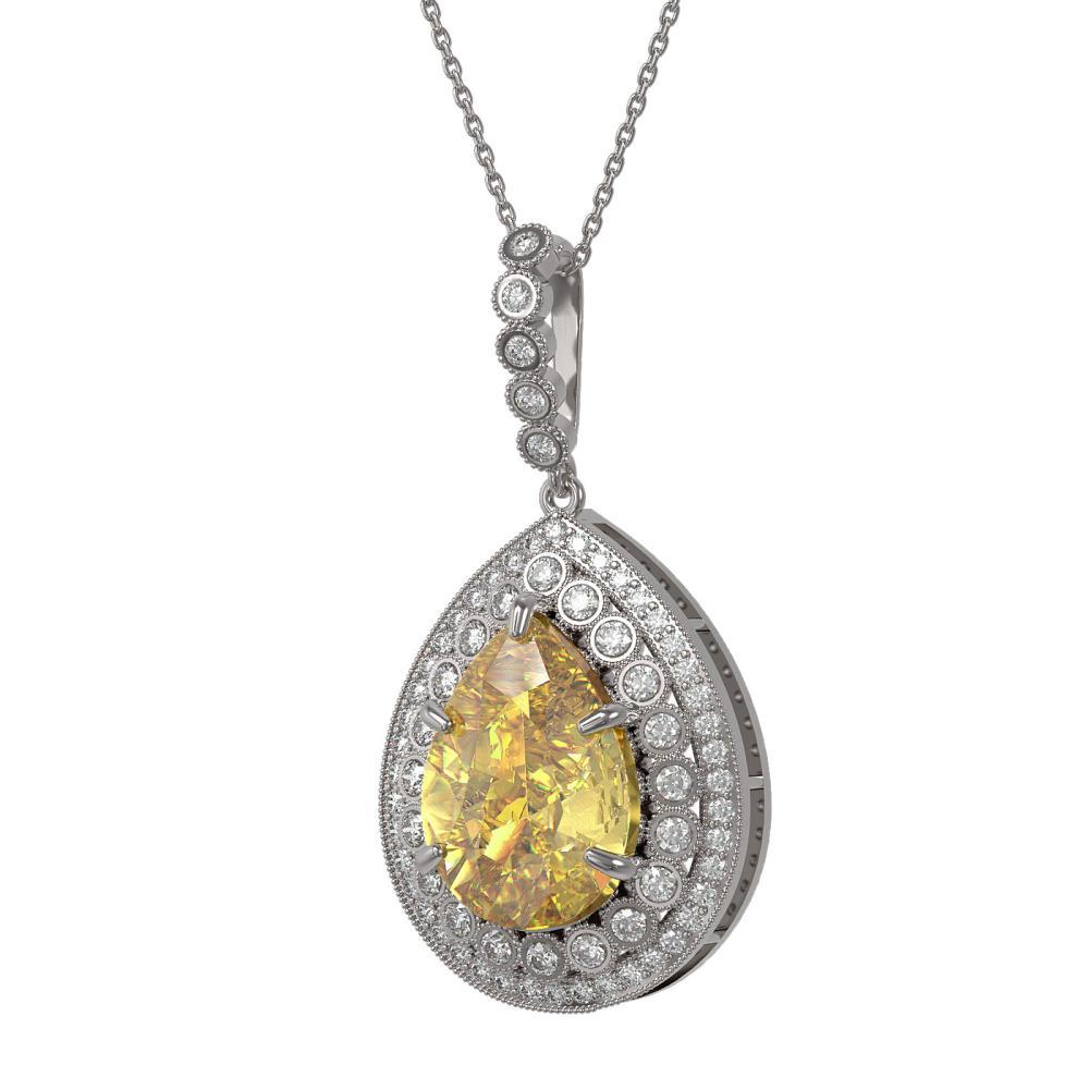 16.96 ctw Canary Citrine & Diamond Necklace 14K White Gold - REF-230K4W - SKU:43328