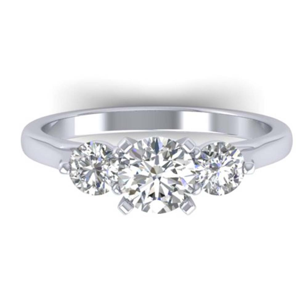 1.37 ctw VS/SI Diamond Art Deco 3 Stone Ring 14K White Gold - REF-212X9R - SKU:30483