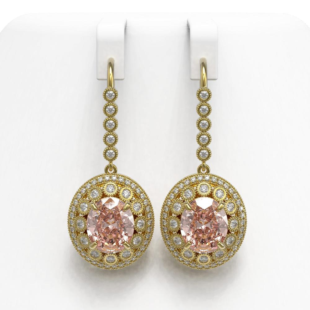 13.82 ctw Morganite & Diamond Earrings 14K Yellow Gold - REF-579Y8X - SKU:43789