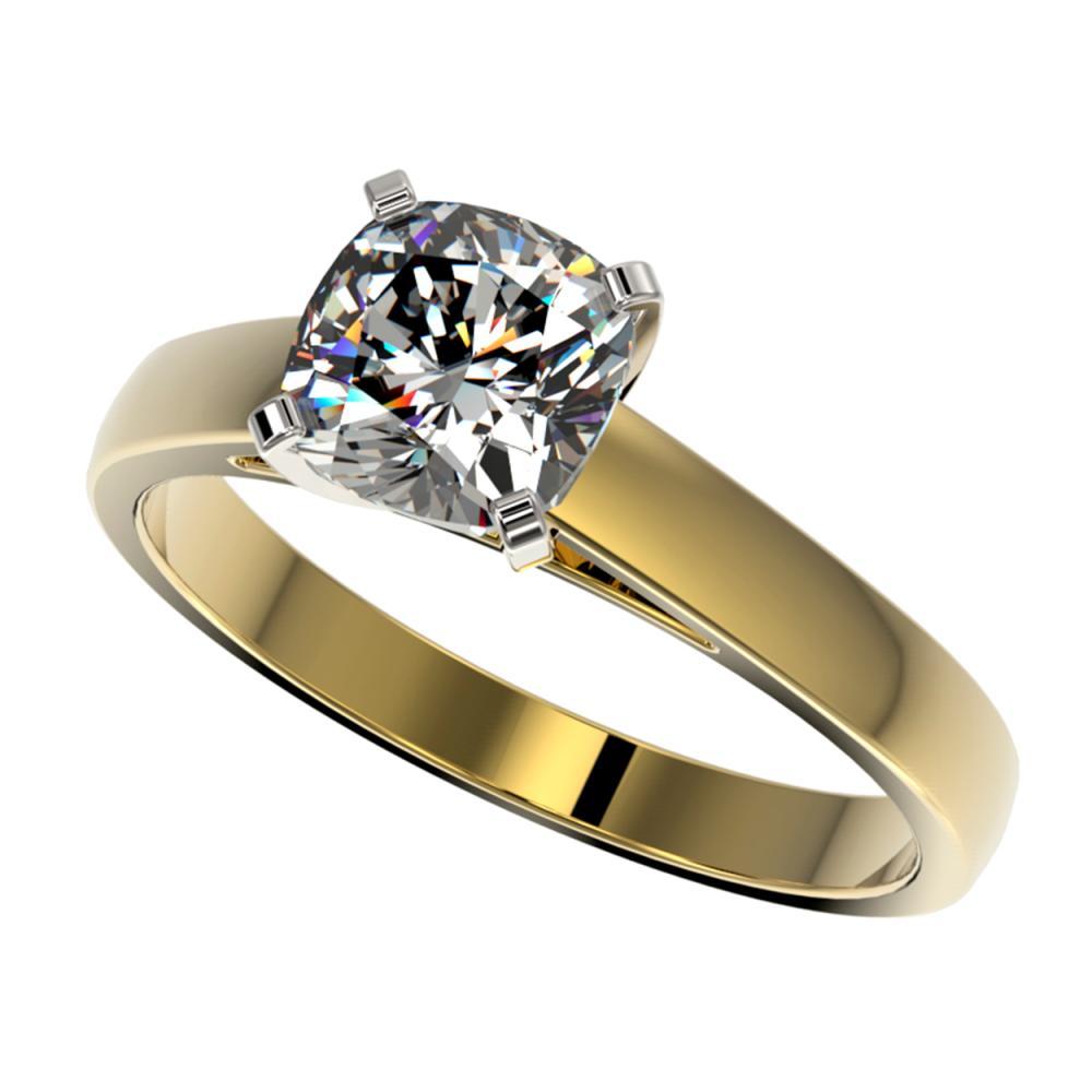 1.25 ctw VS/SI Cushion Cut Diamond Ring 10K Yellow Gold - REF-372R3K - SKU:33018