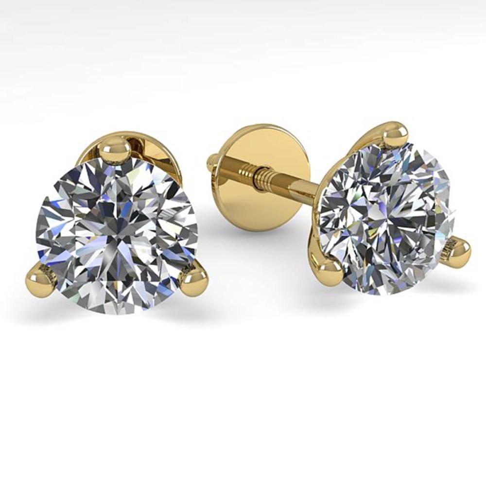 1.01 ctw VS/SI Diamond Stud Earrings 14K Yellow Gold - REF-118K6W - SKU:30569