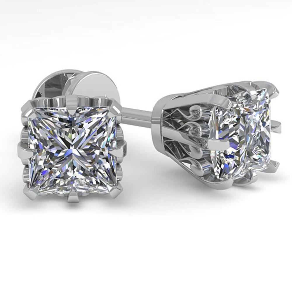 1.0 ctw VS/SI Princess Diamond Stud Solitaire Earrings 18K White Gold - REF-147R2K - SKU:35673