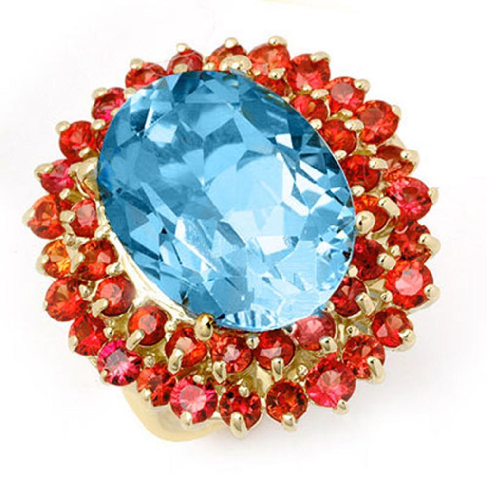 14.25 ctw Red Sapphire & Blue Topaz Ring 10K Yellow Gold - REF-82M2F - SKU:11732