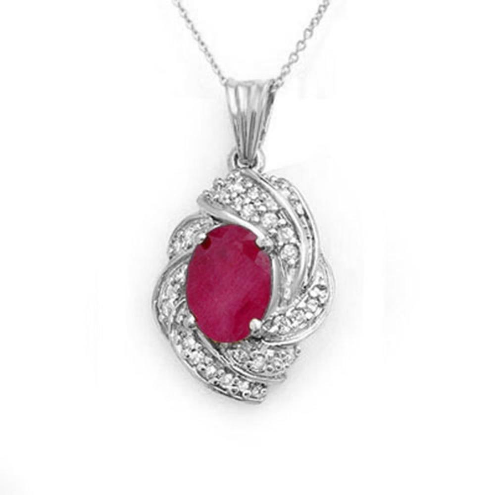 3.87 ctw Ruby & Diamond Pendant 18K White Gold - REF-90M9F - SKU:14362