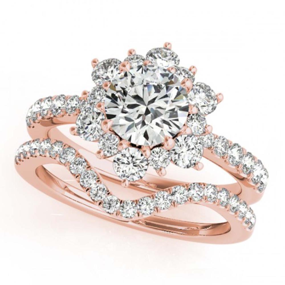 2.22 ctw VS/SI Diamond 2pc Wedding Set Halo 14K Rose Gold - REF-318K8W - SKU:30943