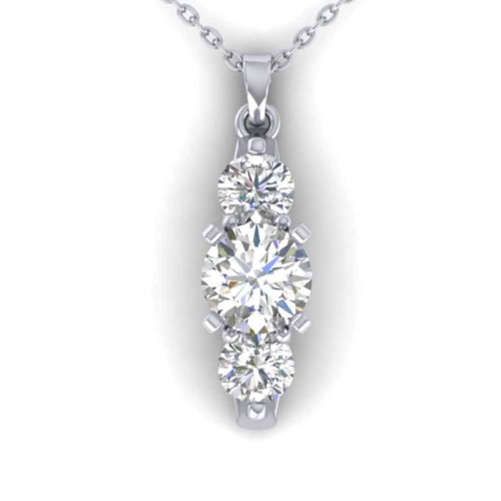 1.25 ctw VS/SI Diamond Art Deco 3 Stone Necklace 14K White Gold - REF-193V3Y - SKU:30480