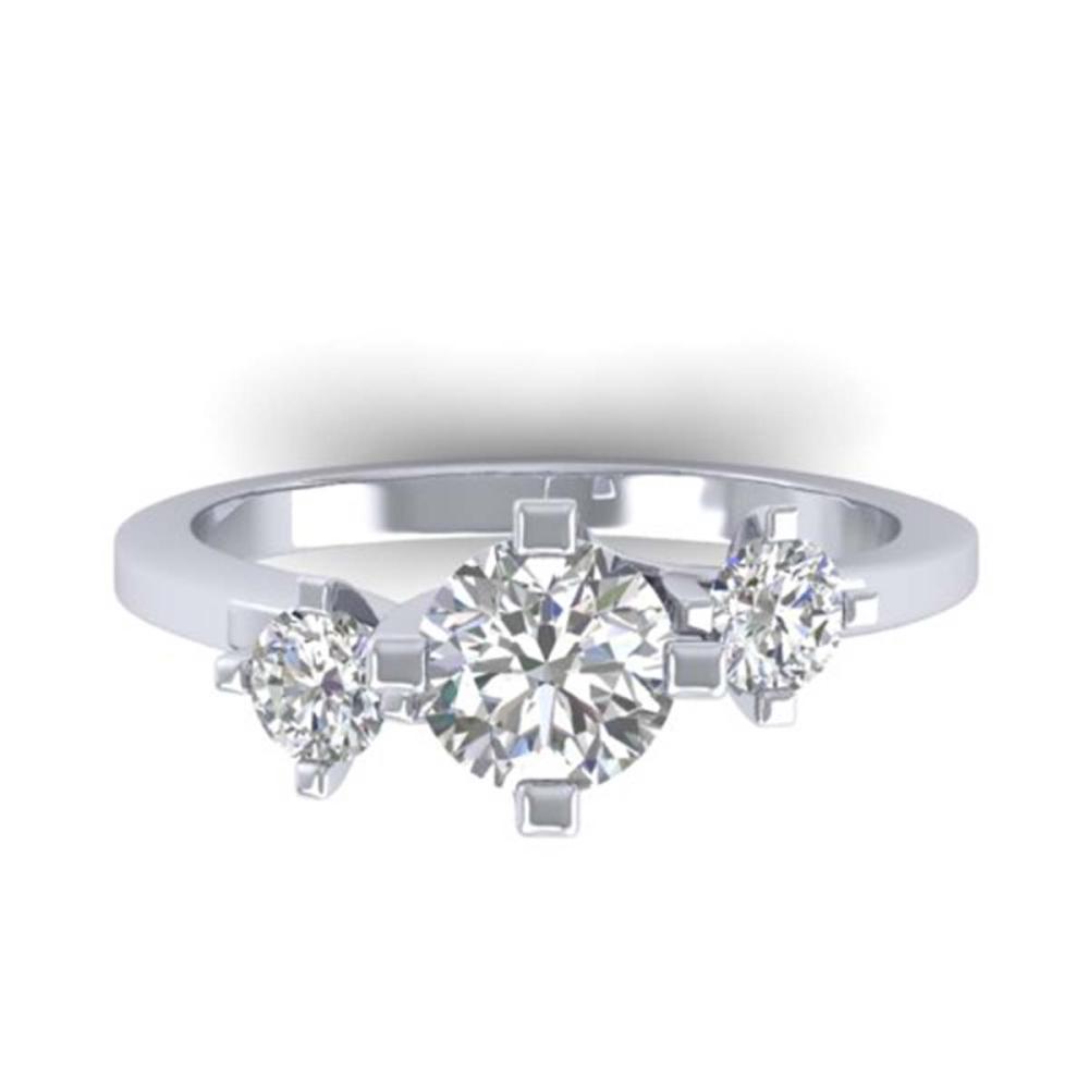 1.25 ctw VS/SI Diamond Solitaire 3 Stone Ring 14K White Gold - REF-201K3W - SKU:30405