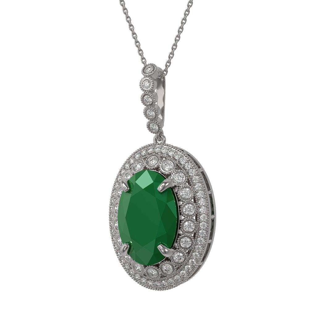 18.25 ctw Emerald & Diamond Necklace 14K White Gold - REF-343Y5X - SKU:43892