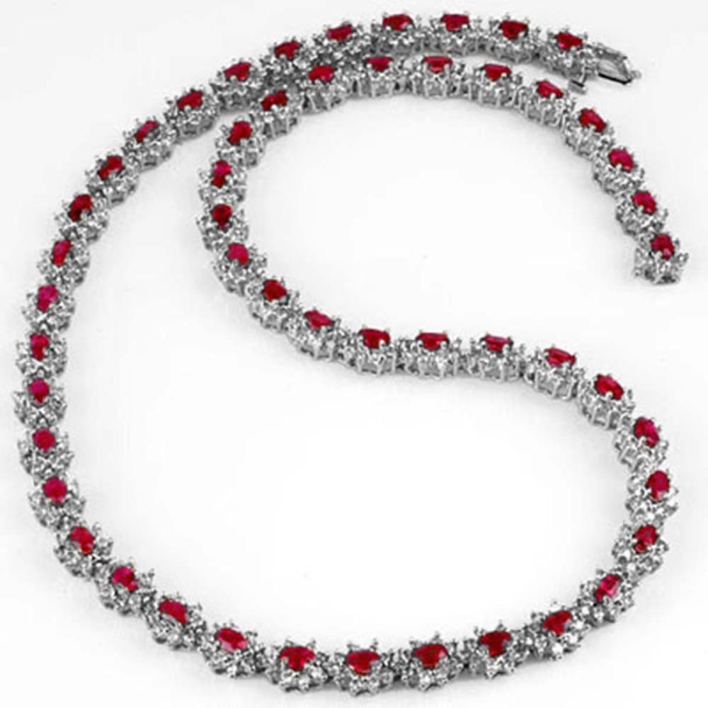27.10 ctw Ruby & Diamond Necklace 18K White Gold - REF-976W7H - SKU:13166