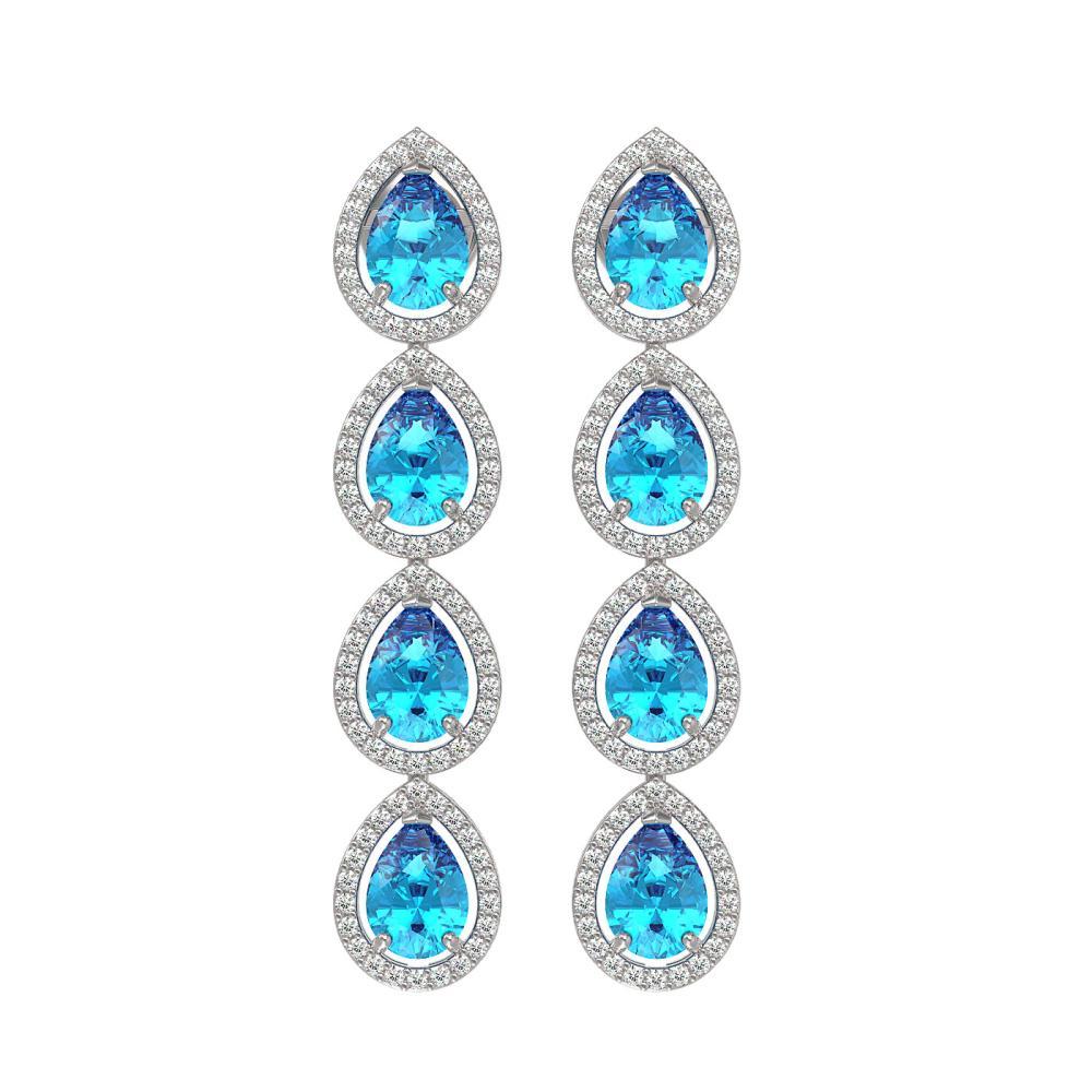 7.81 ctw Swiss Topaz & Diamond Halo Earrings 10K White Gold - REF-137X3R - SKU:41171