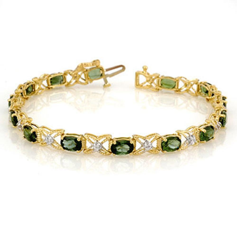 8.15 ctw Green Tourmaline & Diamond Bracelet 14K Yellow Gold - REF-127Y3X - SKU:11262