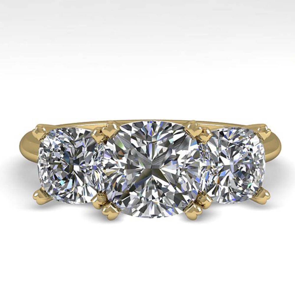 2.0 ctw VS/SI Cushion Diamond 3 Stone Ring 18K Yellow Gold - REF-447N2A - SKU:32476
