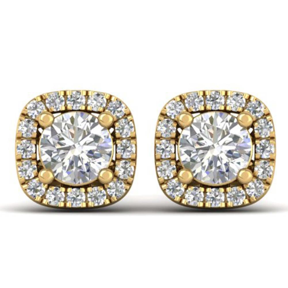 1.08 ctw VS/SI Diamond Stud Halo Earrings 14K Yellow Gold - REF-103N3A - SKU:30422