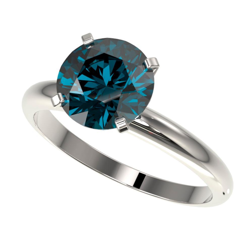 2.50 ctw Intense Blue Diamond Ring 10K White Gold - REF-577K5W - SKU:32948