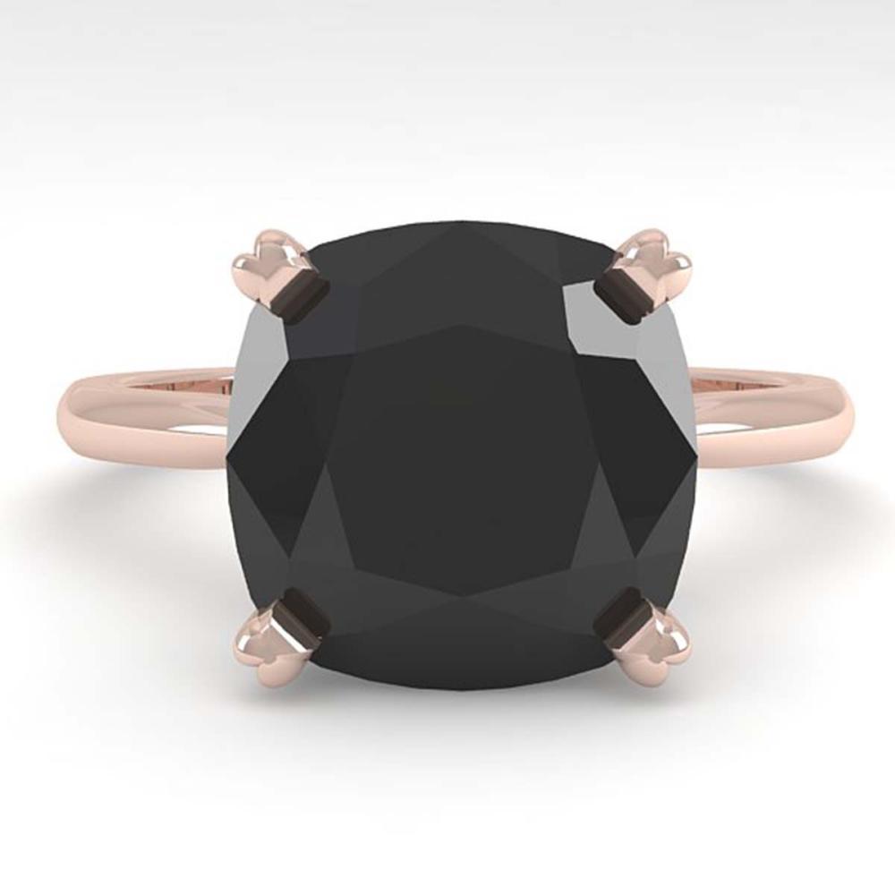 6.0 ctw Cushion Black Diamond Ring 18K Rose Gold - REF-133M6F - SKU:32459
