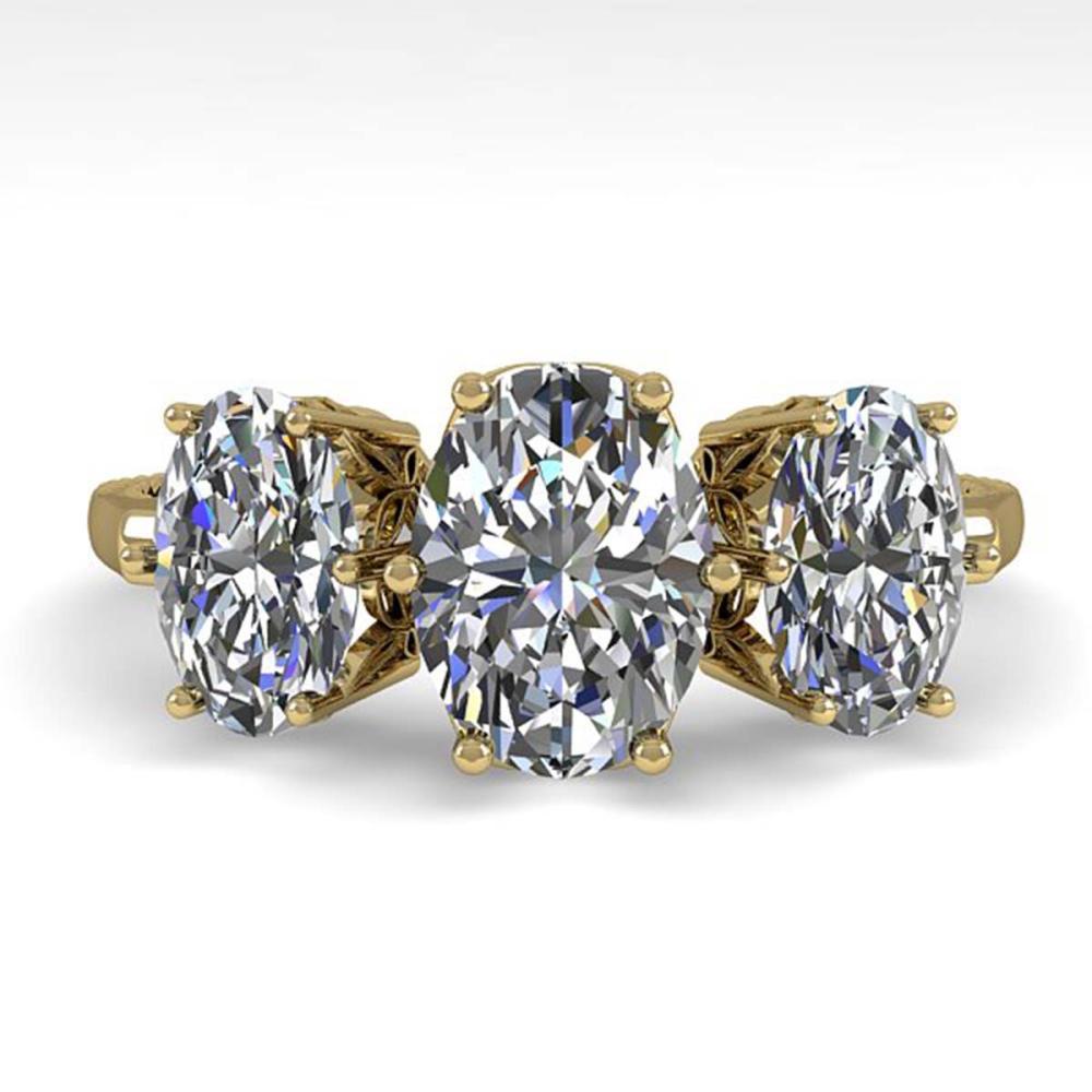 2.0 ctw Past Present Future VS/SI Oval Diamond Ring 18K Yellow Gold - REF-414R3K - SKU:35914