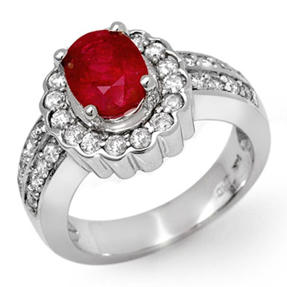 2.25 ctw Ruby & Diamond Ring 18K White Gold - REF-118R2K - SKU:11920