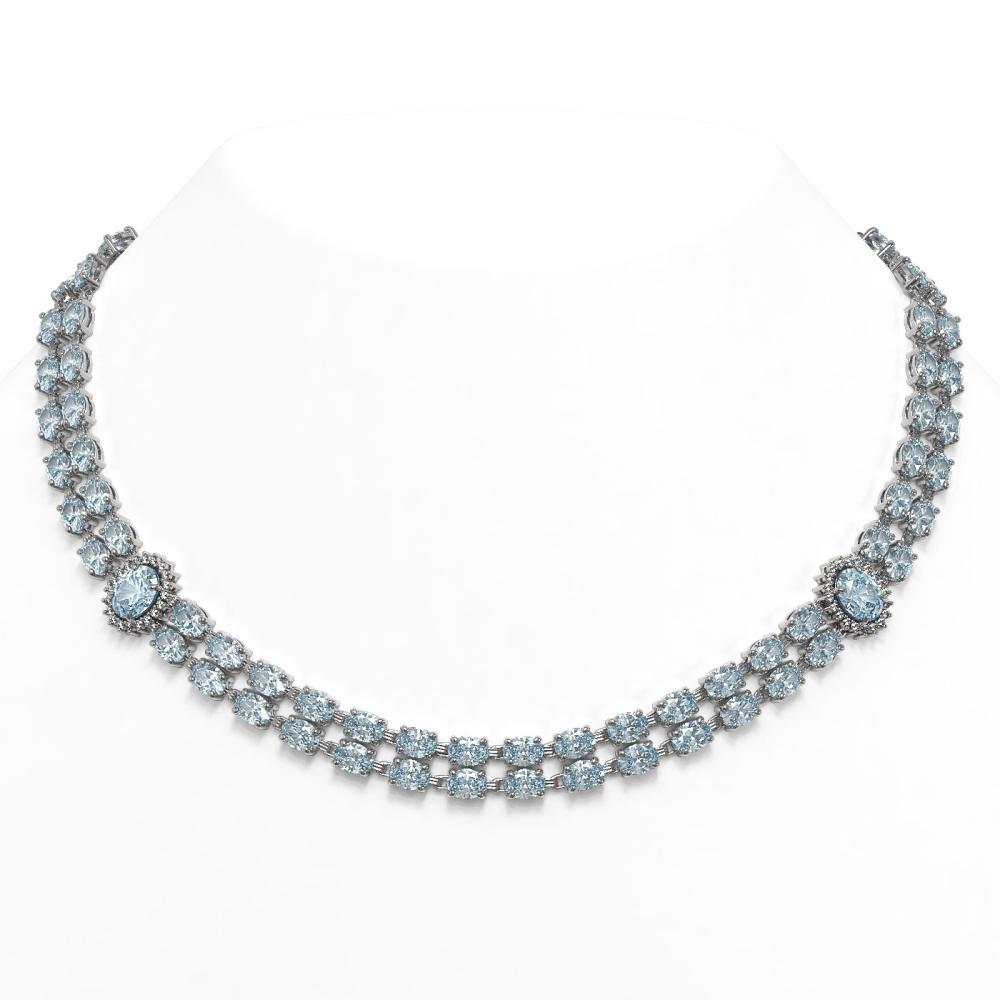 65.29 ctw Sky Topaz & Diamond Necklace 14K White Gold - REF-439F5N - SKU:44369