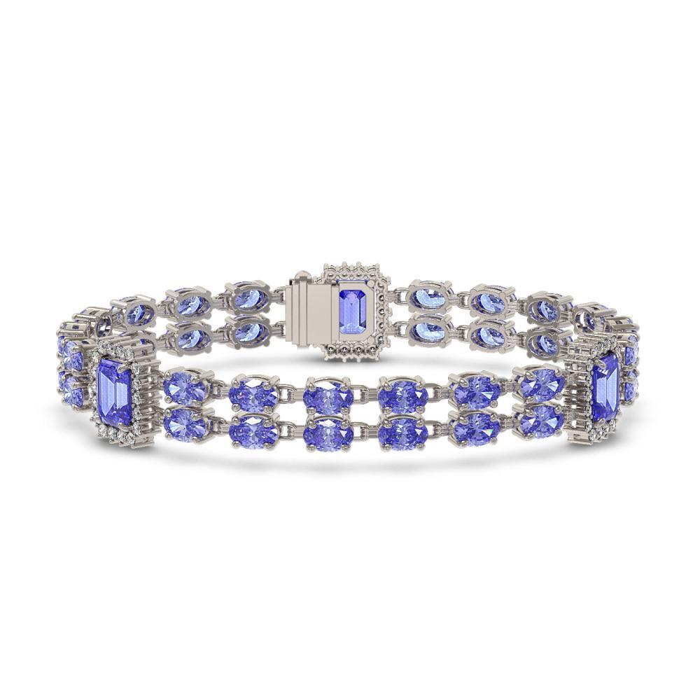 16.96 ctw Tanzanite & Diamond Bracelet 14K White Gold - REF-308K4W - SKU:45032