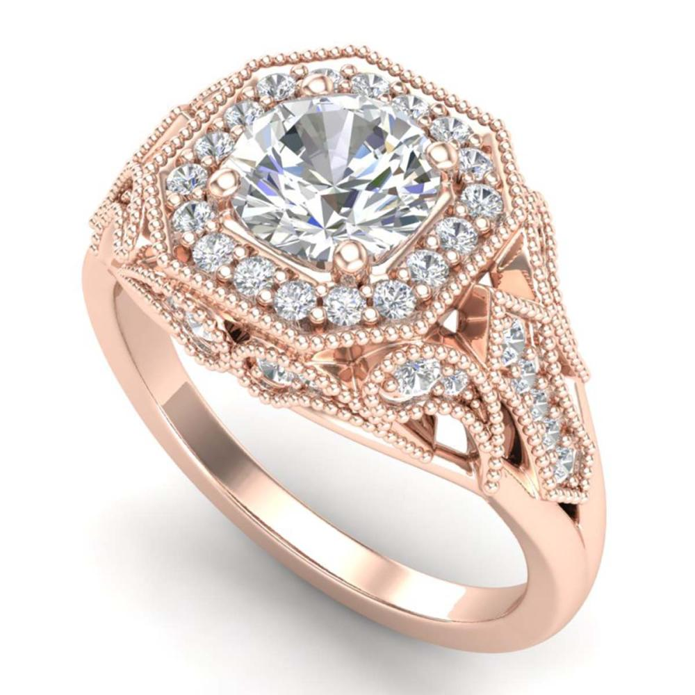 1.75 ctw VS/SI Diamond Solitaire Art Deco Ring 18K Rose Gold - REF-436R4K - SKU:37320