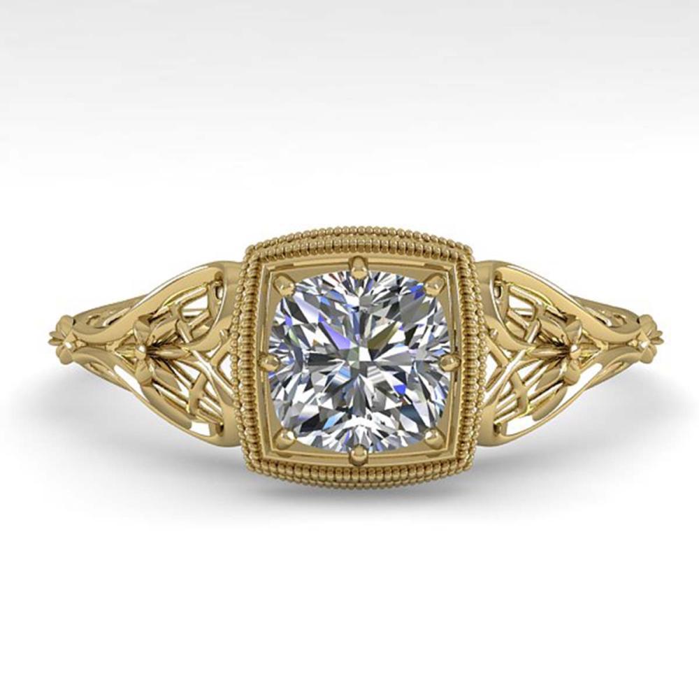 0.50 ctw VS/SI Cushion Diamond Ring 18K Yellow Gold - REF-113H8M - SKU:36028