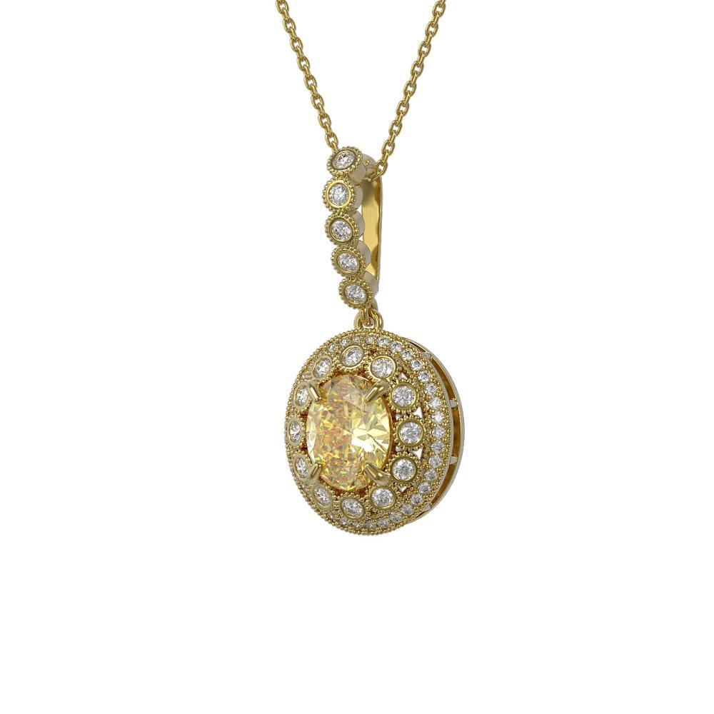 3.87 ctw Canary Citrine & Diamond Necklace 14K Yellow Gold - REF-120Y2X - SKU:43672