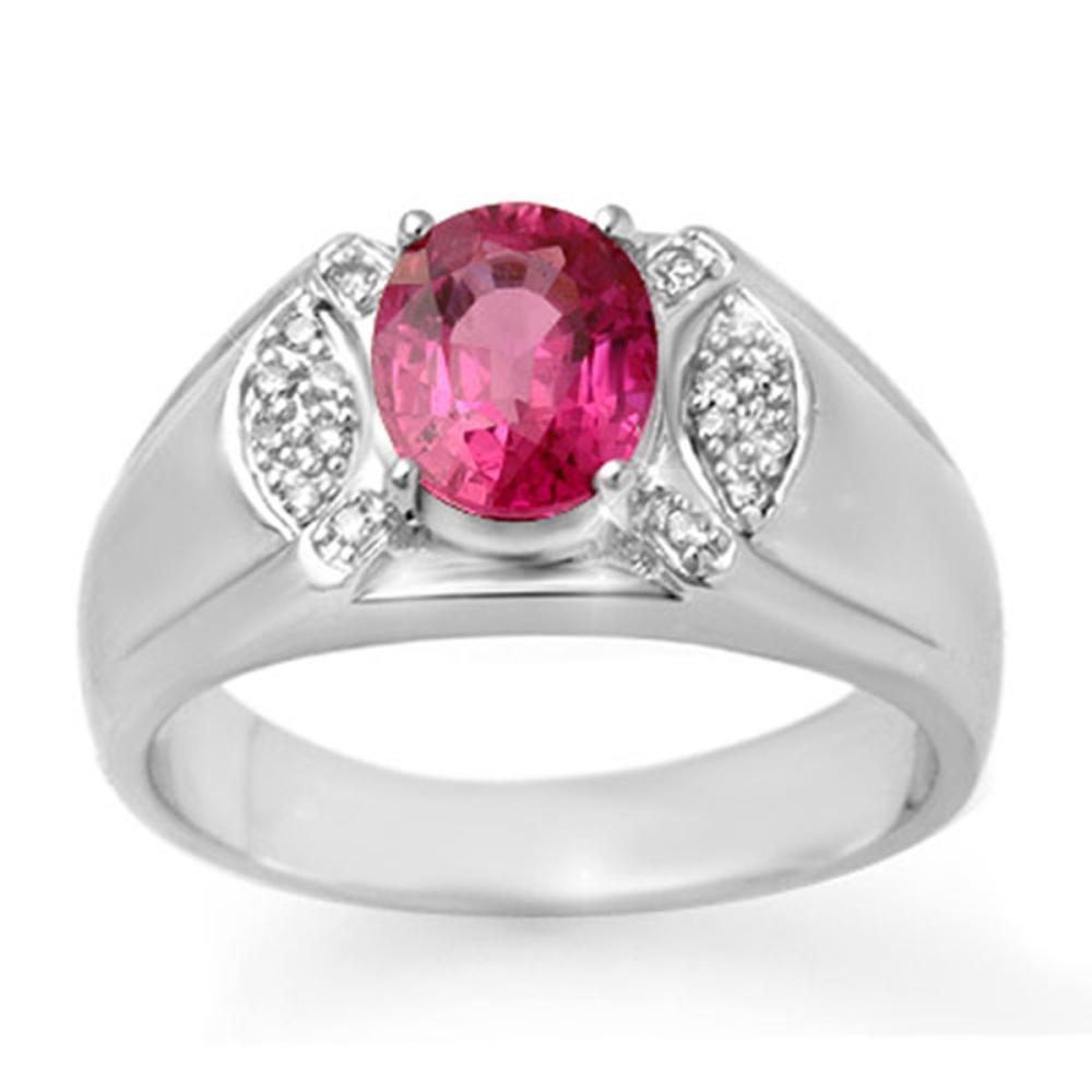 3.15 ctw Pink Sapphire & Diamond Men's Ring 10K White Gold - REF-61K8W - SKU:13414