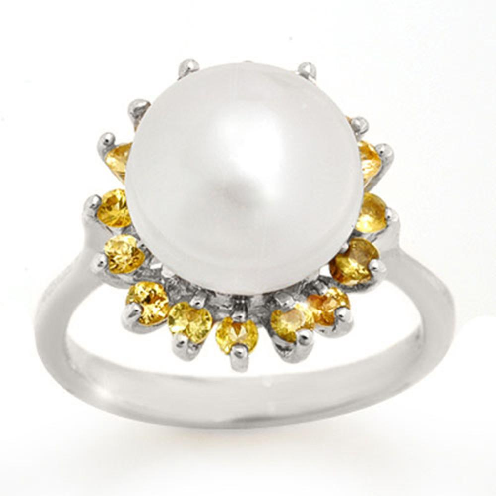 0.75 ctw Yellow Sapphire & Pearl Ring 18K White Gold - REF-51H6M - SKU:10531