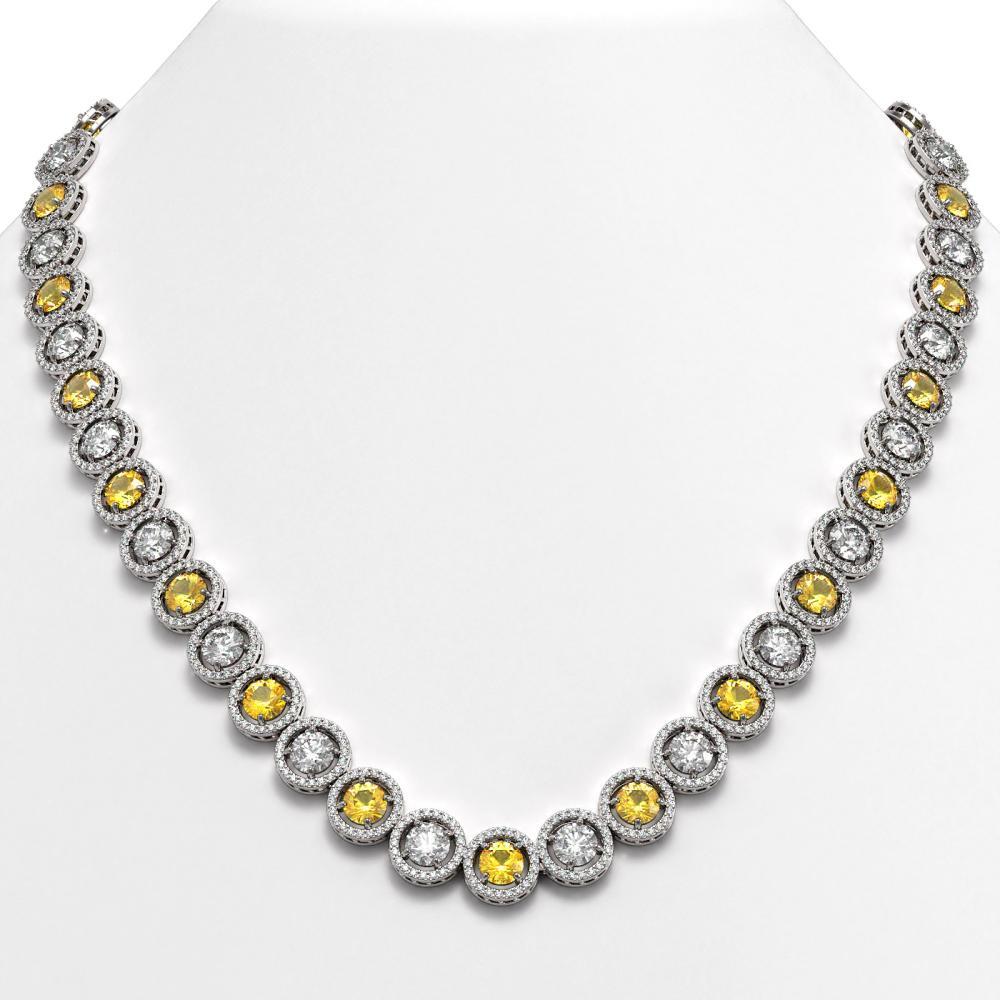 35.54 ctw Canary & Diamond Necklace 18K White Gold - REF-3777M2F - SKU:42686