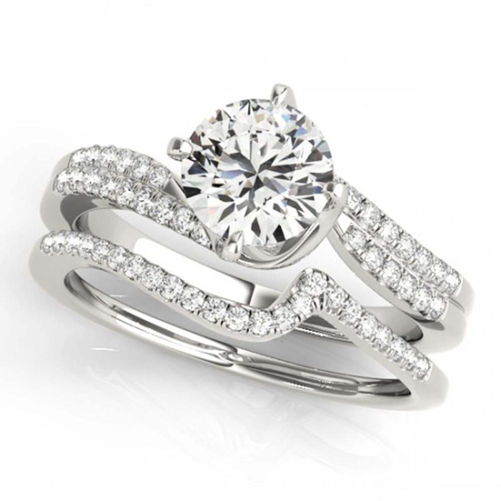 1.37 ctw VS/SI Diamond Bypass 2pc Wedding Set 14K White Gold - REF-288R7K - SKU:31829