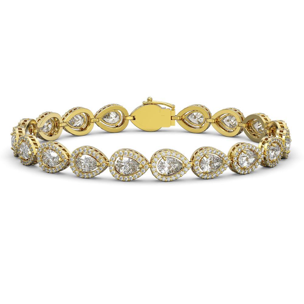 14.28 ctw Pear Diamond Bracelet 18K Yellow Gold - REF-1987Y8X - SKU:42736