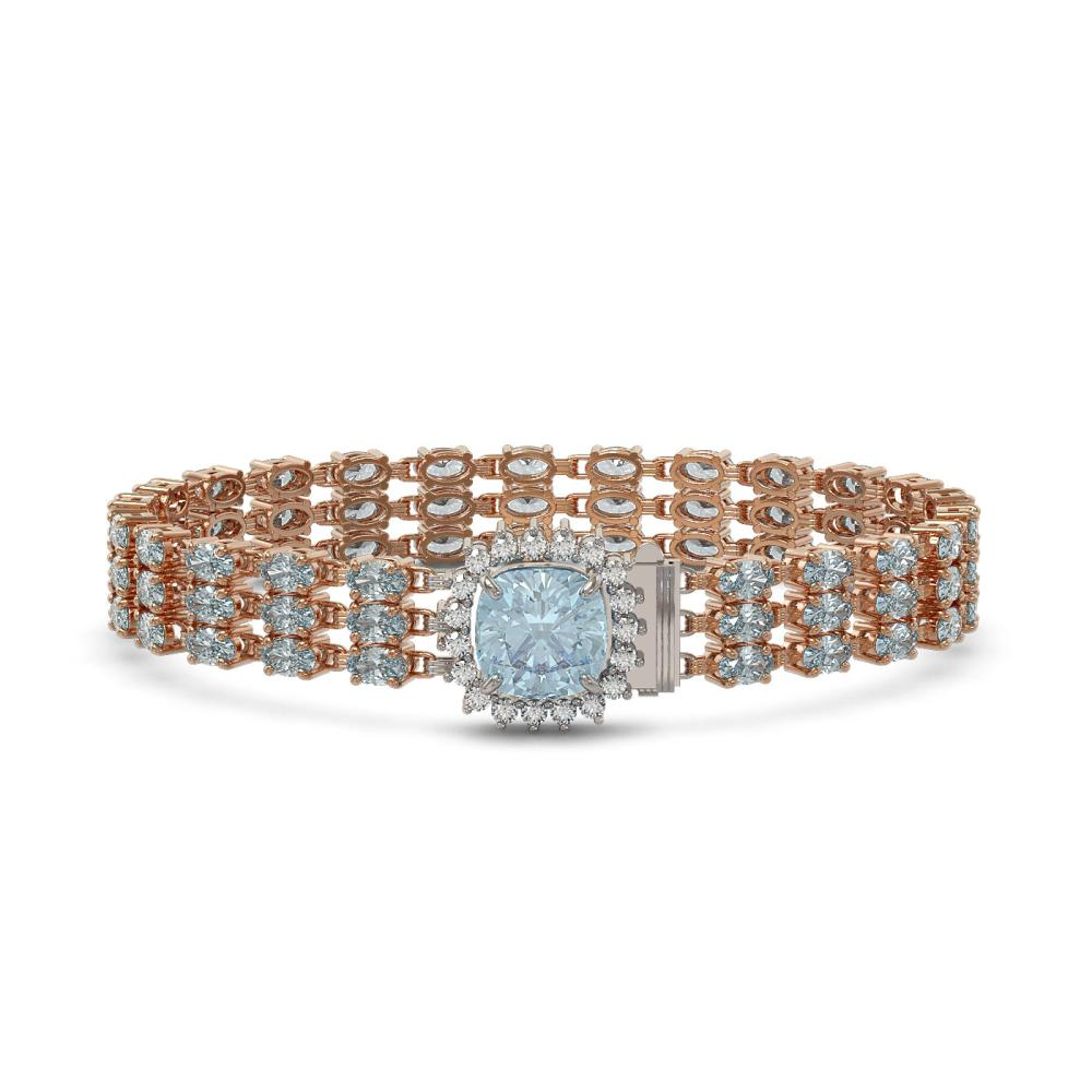 23.78 ctw Aquamarine & Diamond Bracelet 14K Rose Gold - REF-306A9V - SKU:45903