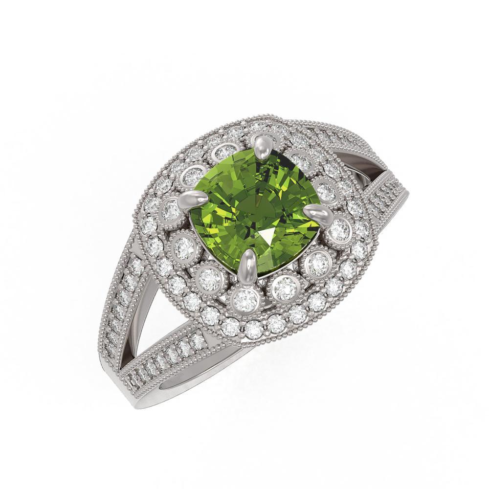 2.39 ctw Tourmaline & Diamond Ring 14K White Gold - REF-106R5K - SKU:44042