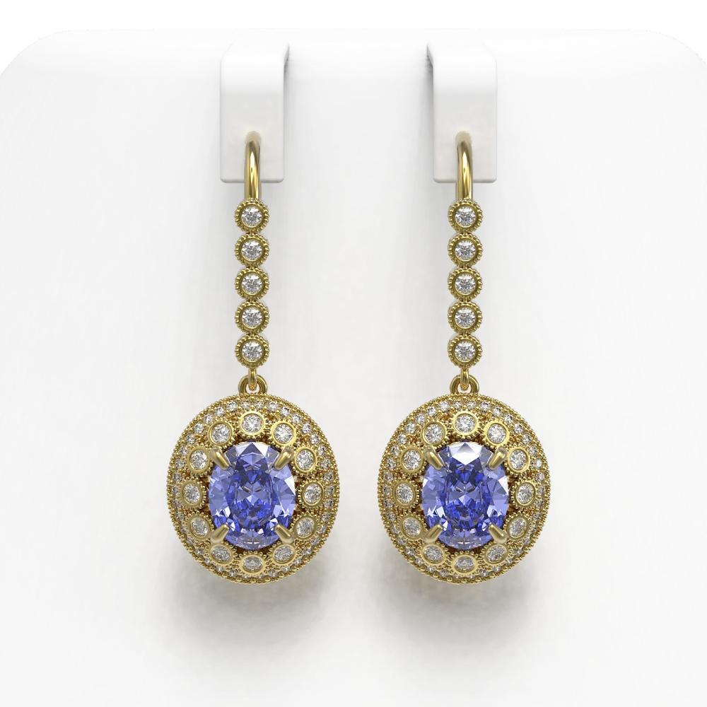 9.47 ctw Tanzanite & Diamond Earrings 14K Yellow Gold - REF-315N6A - SKU:43612