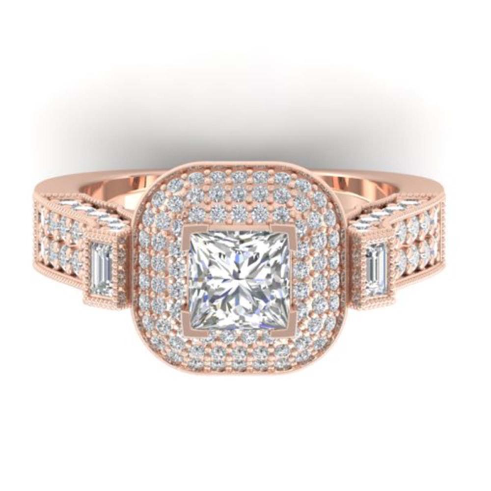 2.85 ctw Princess VS/SI Diamond Art Deco Ring 14K Rose Gold - REF-486R2K - SKU:30445