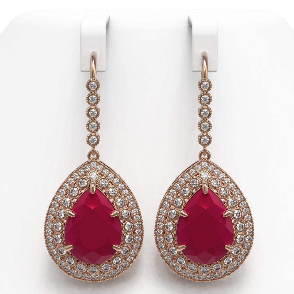 31.74 ctw Ruby & Diamond Earrings 14K Rose Gold - REF-646A4V - SKU:43302