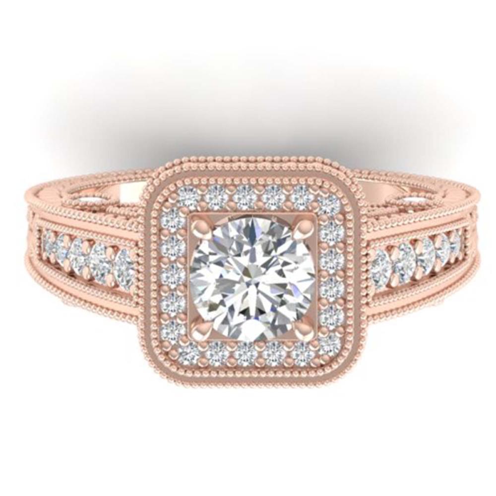 2 ctw VS/SI Diamond Art Deco Halo Ring 14K Rose Gold - REF-258F2N - SKU:30496