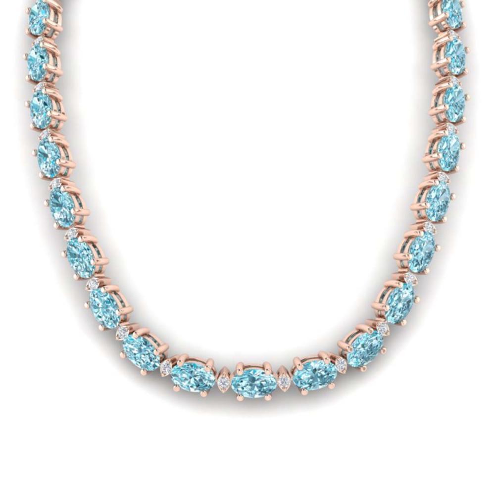 61.85 ctw Sky Blue Topaz & VS/SI Diamond Necklace 10K Rose Gold - REF-264K9W - SKU:29523