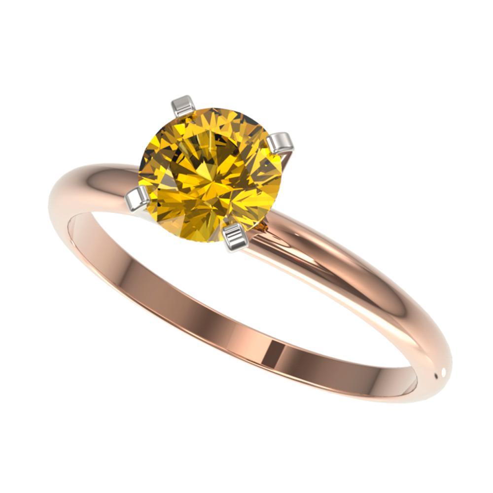 1.04 ctw Intense Yellow Diamond Ring 10K Rose Gold - REF-187W5H - SKU:36419